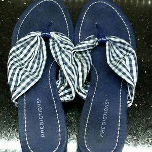 Gingham check blue & white basketweave sole sandal